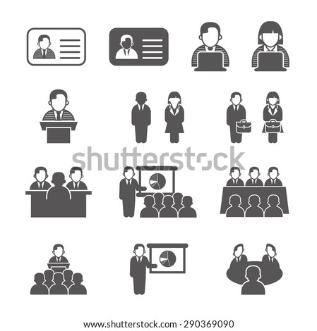 Office people icons set. vector illustration. - stock vector
