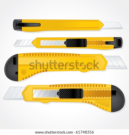 Office plastic paper knife vector illustration-separated and grouped elements, retractable blade - stock vector