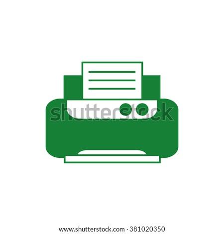 Office printer. Vector icon green  - stock vector