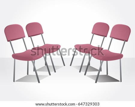 Office red chairs. Isolated chairs.