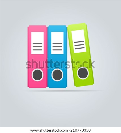 Office ring binders clipart icon. Vector illustration