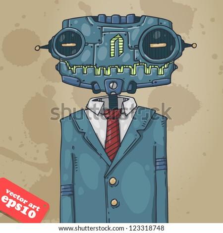 office robot - stock vector