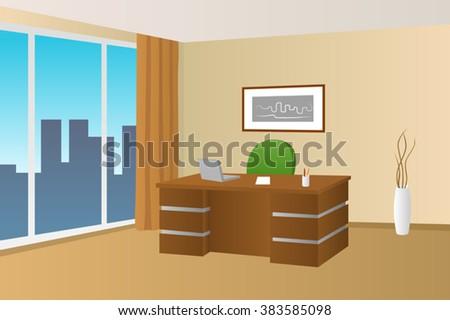 Office room beige interior table chair window illustration vector - stock vector