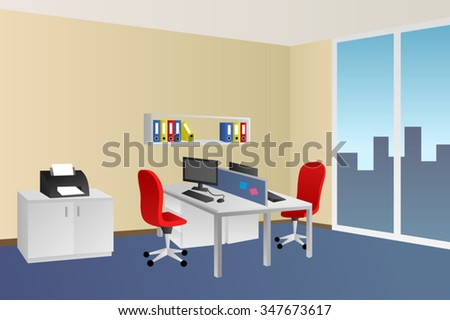Office room blue beige interior white table red chair window illustration vector