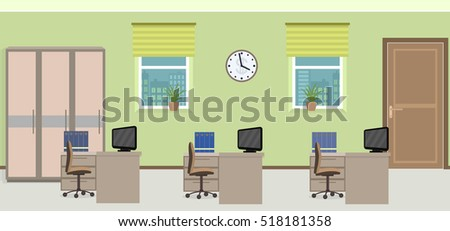 Office room interior including three work spaces with furniture. Flat style vector illustration.