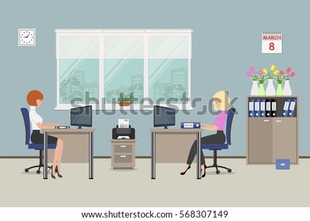 Office Room On Day March 8 Stock Vector 568307149