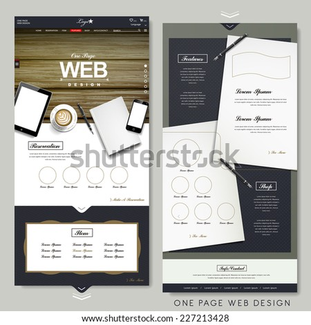 office scene one page website design template with stationery elements - stock vector