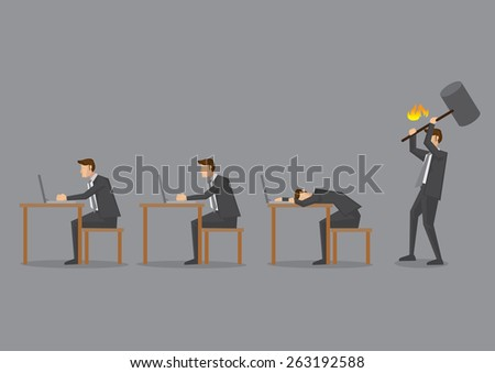 Office scene with business executives working at desk and an angry supervisor holding a huge hammer ready to hit a slacker. Conceptual vector illustration isolated on grey background. - stock vector