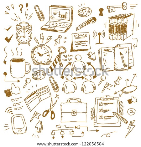 office set with hand doodle - stock vector