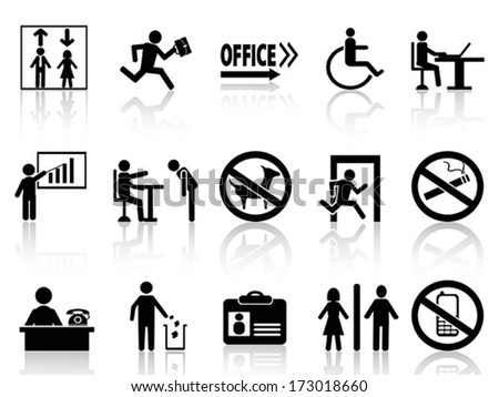 office sign icons set - stock vector