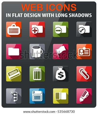 Office simple icons set in flat design with long shadow
