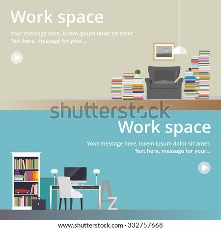 Office space in flat style. Home office. Library - stock vector