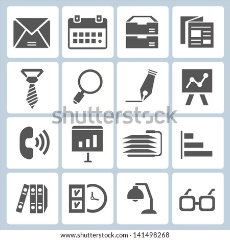 office stationery icons set, business icons - stock vector