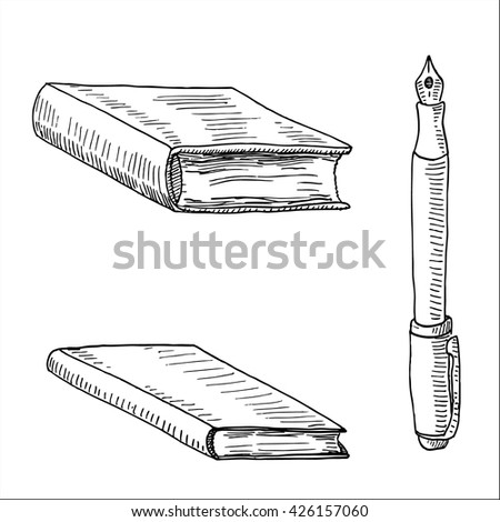 office stationery  with pen, book and notebook hand drawn sketch vector illustration - stock vector