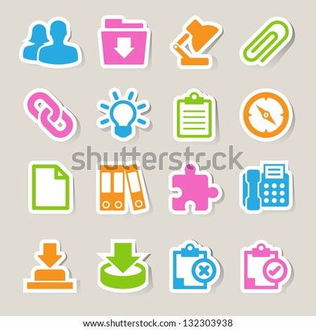 Office sticker icons set. Illustration eps 10 - stock vector