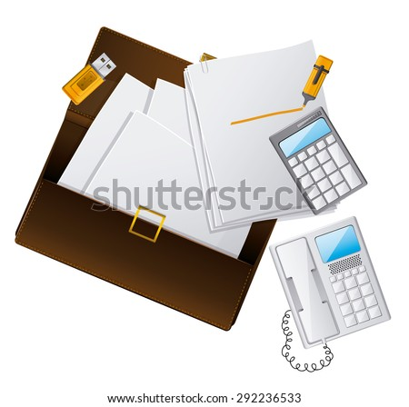 Office supplies design over white background, vector illustration