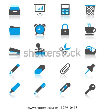 Office supplies flat with reflection icons - stock vector