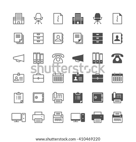 Office supplies icons, included normal and enable state. - stock vector