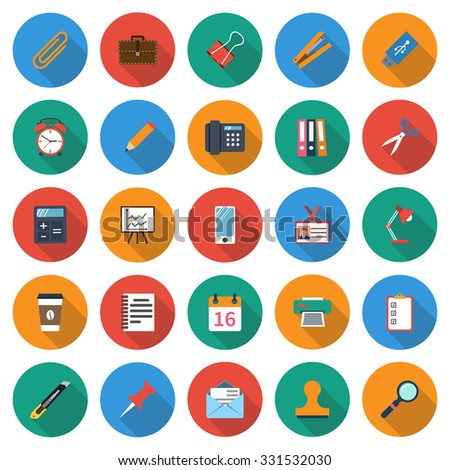Office supplies icons set. Set colored icons in flat style. Vector illustration. - stock vector
