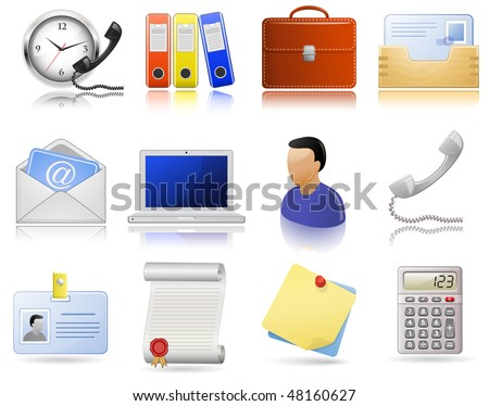 Office supplies. Vector  icon set. Highly detailed icons with a reflection and shadows. - stock vector
