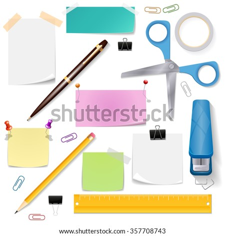 Office supplies vector set