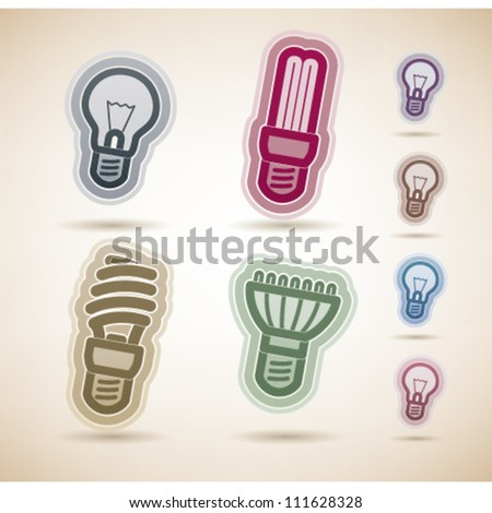 Office Supply Objects, from left to right, top to bottom:   Classic lightbulb, Fluorescent eco lightbulb,Spiral fluorescent eco lightbulb, Led eco lightbulb. - stock vector