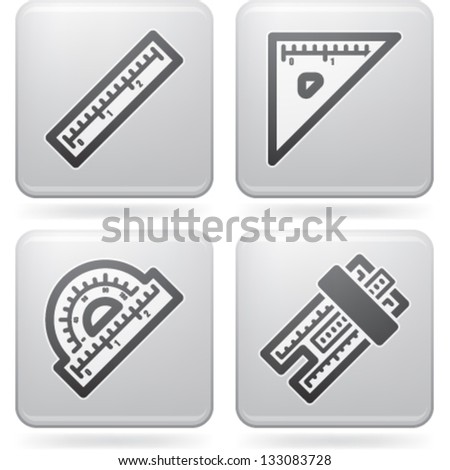 Office Supply Objects: ruler, square, protractor, slide rule. - stock vector