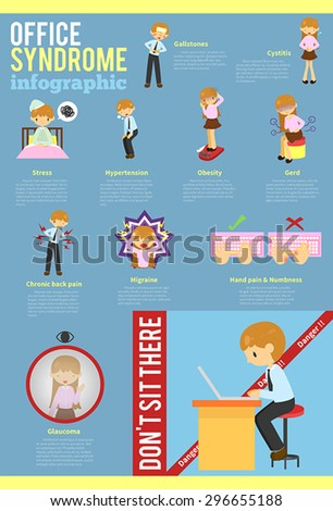 Office syndrome education infographic template layout with sample text background design, create by vector  - stock vector