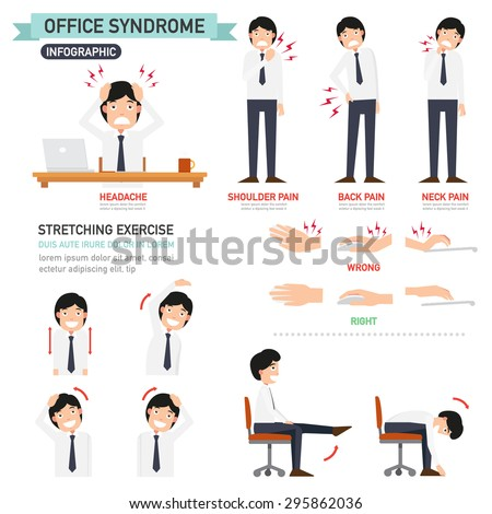 office syndrome infographicvector illustration stock vector 295862036 shutterstock