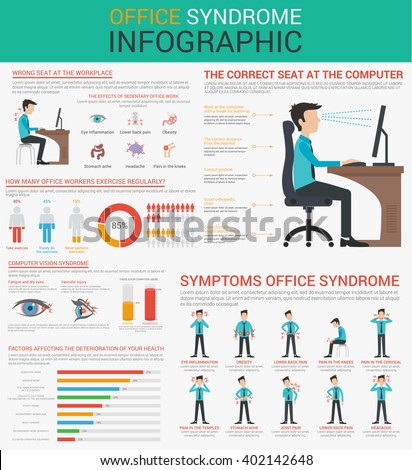 Office syndrome Infographics presentation design with graphics, diagrams, graphs. Concept Vector flat illustration. Presentation template Design. Wrong sitting in the workplace. - stock vector