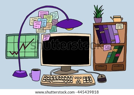 Office table with computer. Hand drawn vector stock illustration. - stock vector