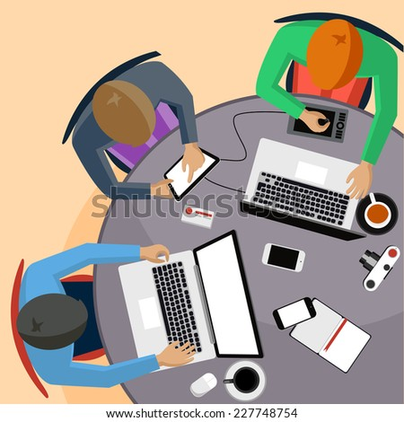 Office teamwork workers business management meeting and brainstorming on round table in top view flat design cartoon style - stock vector