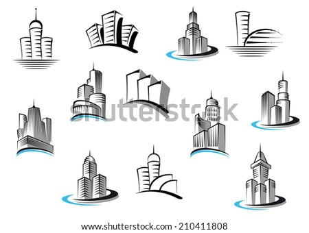 Office, telecommunication, buildings and residential building symbols set. Suitable for architecture, real estate industry or any logo design - stock vector