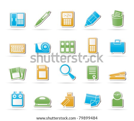 Office tools Icons - vector icon set 3 - stock vector