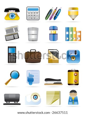 Office tools vector icon set 3 - stock vector