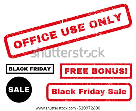Office Use Only rubber seal stamp watermark with additional images for Black Friday offers. Tag inside rectangular banner with grunge design and dirty texture. Vector red and black emblems.