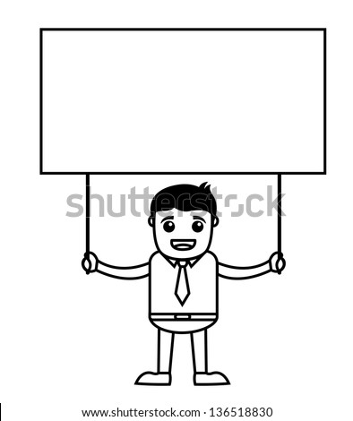 Office Vector Cartoon Character Illustration - Holding a Banner - stock vector