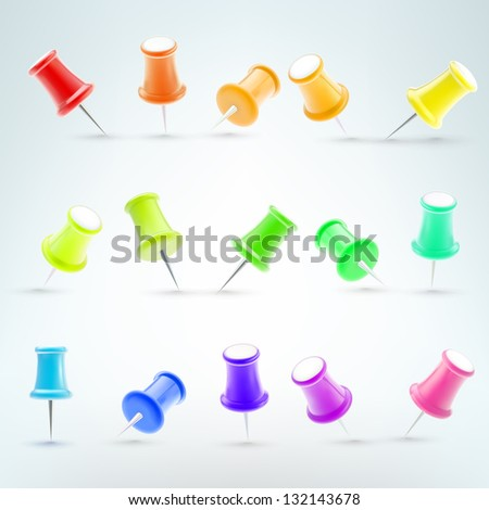 Office vector push pins set made of shiny colorful plastic, eps10 clipart elements - stock vector