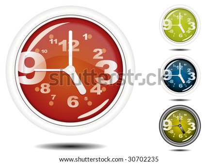 Office Wall Clock Illustration (Global Swatches Included) - stock vector