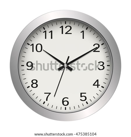 Office wall clock metallic white vector icon