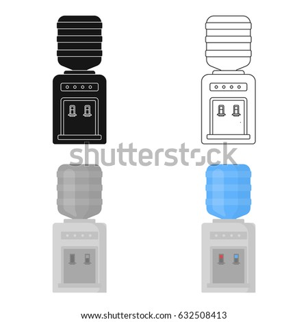 Office water cooler icon in cartoon style isolated on white background. Office furniture and interior symbol stock vector illustration.