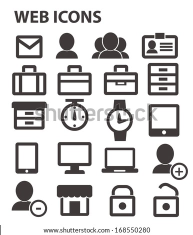 Office & website icons,Black version - stock vector