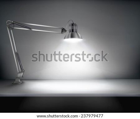 Office with a desk lamp. Vector illustration.