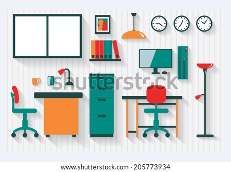 Office with Filing Cabinet Furniture and Fittings Long Shadows - All items grouped separately and easy to move or edit - stock vector
