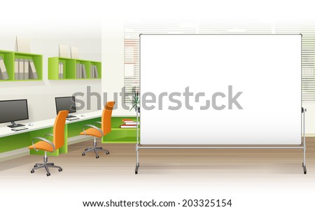 Office with furniture and computer - stock vector