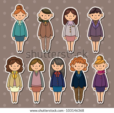 office woman stickers - stock vector
