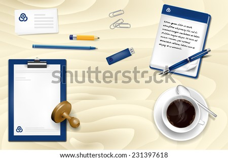 Office wooden table with office supplies and coffee - vector illustration - stock vector