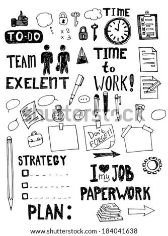Office work doodles. Hand drawn vector illustration - stock vector