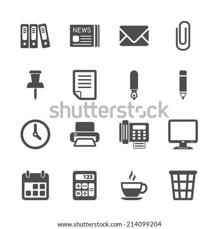 office work icon set, vector eps10. - stock vector