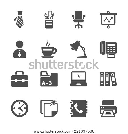 office work icon set, vector eps10  - stock vector